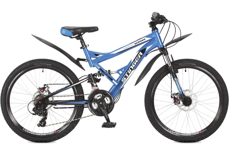 Велосипед горный Stinger Versus, цвет: синий, 24, рама 16,5. 24SFD.VERSUD.16BL7 велосипед stinger versus 18 2017 blue gray