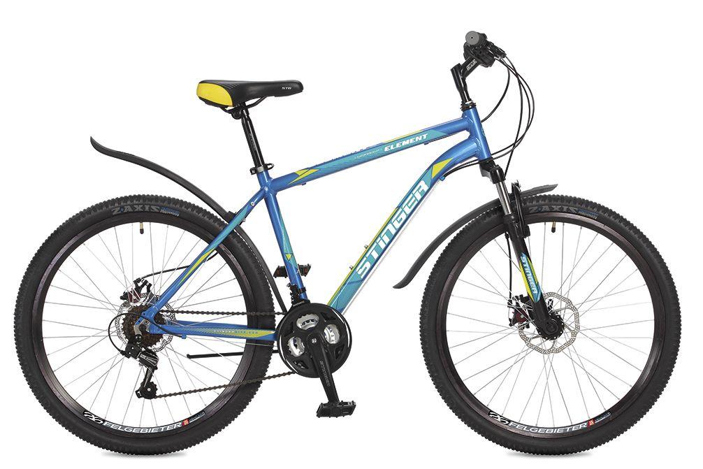 Велосипед горный Stinger Element D, цвет: синий, 26, рама 18 вилка амортизационная rst capa t для 20 ход 50 мм под диск