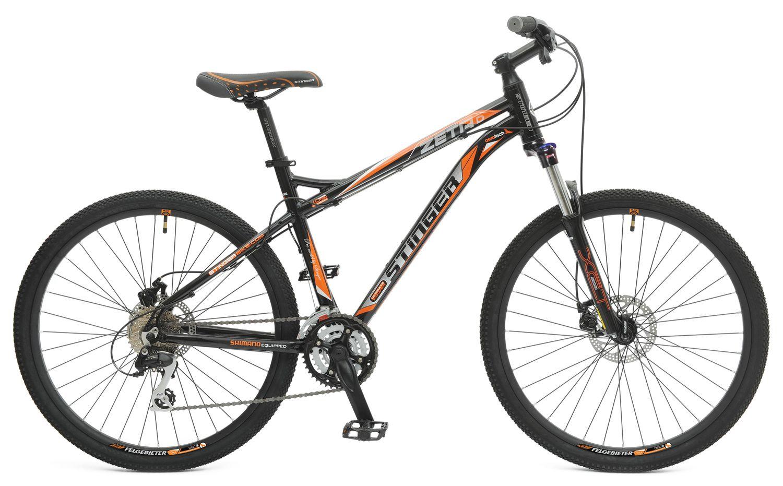 Велосипед горный Stinger Zeta D, цвет: оранжевый, 26, рама 20