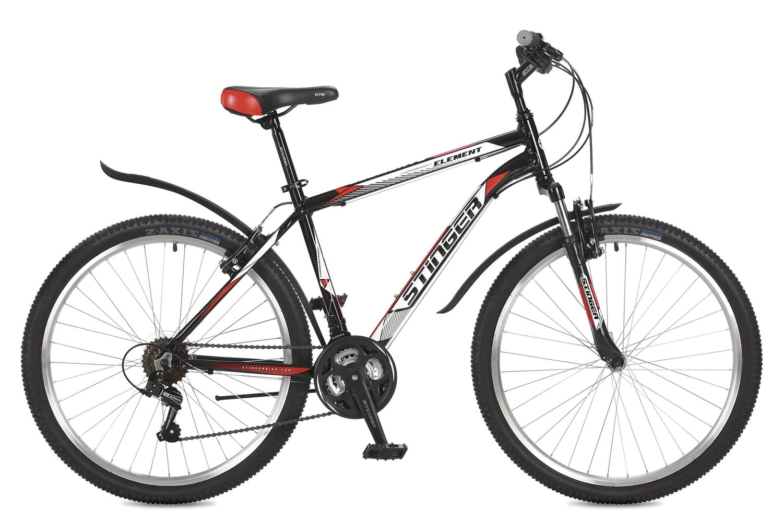 Велосипед горный Stinger Element, цвет: черный, 26, рама 16 stinger stinger велосипед 24 caiman 14 зеленый