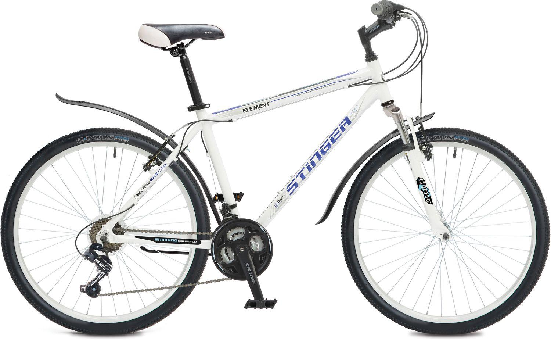Велосипед горный Stinger Element , цвет: белый, 26, рама 16 вилка амортизационная suntour гидравлическая для велосипедов 26 ход 100 120мм sf14 xcr32 rl 26