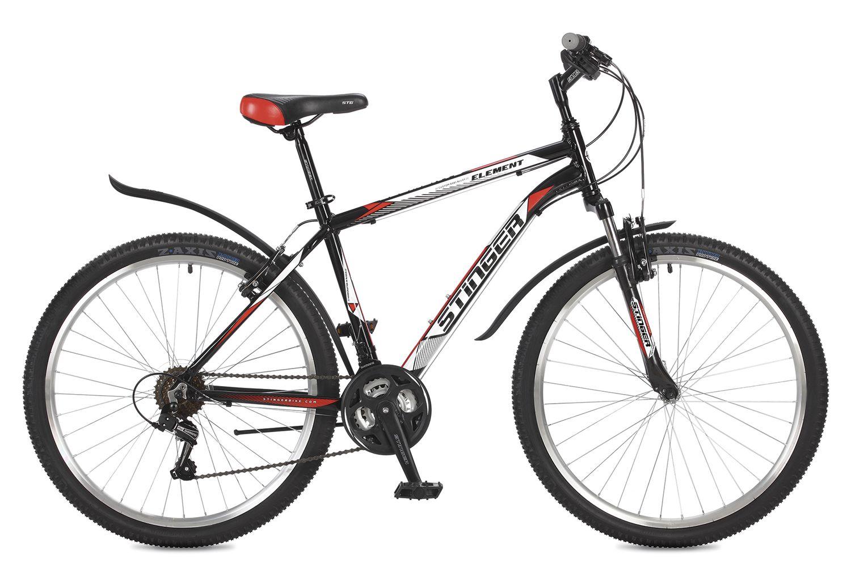 Велосипед горный Stinger Element, цвет: черный, 26, рама 18 вилка амортизационная suntour гидравлическая для велосипедов 26 ход 100 120мм sf14 xcr32 rl 26