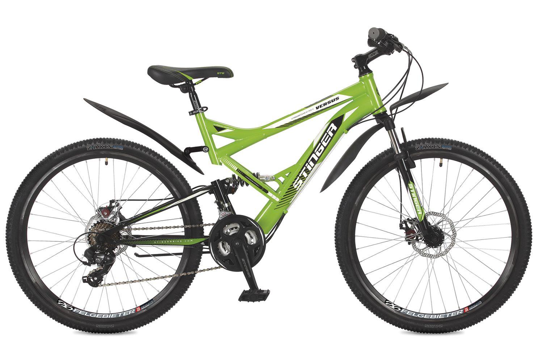 Велосипед горный Stinger Versus D, цвет: зеленый, 26, рама 16