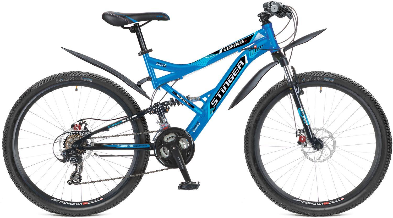Велосипед горный Stinger Versus D, цвет: голубой, 26, рама 18