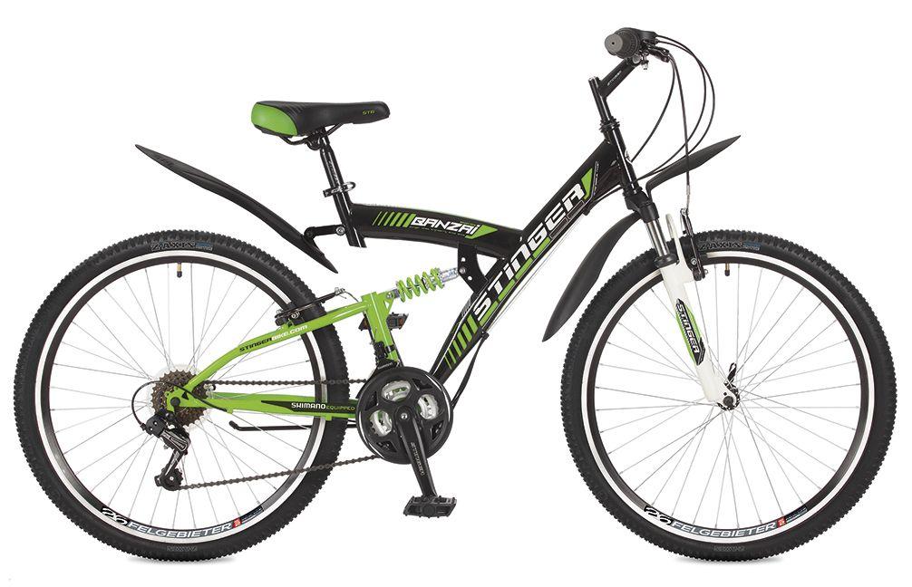 Велосипед горный Stinger Banzai, цвет: черный, 26, рама 1826SFV.BANZAI.18BK7Stinger Banzai - это велосипед для активного катания по пересеченной местности. Модель оборудована передней амортизационной вилкой, а также задним амортизатором, благодаря чему имеет повышенную проходимость. Прочная стальная рама гарантирует высокую надежность и обеспечивает хороший накат. Оборудование серии Tourney - переключение передач от мирового лидера компании Shimano гарантирует четкую и гладкую работу в любых условиях. Высокопрочные двойные обода препятствуют образованию восьмерок и служат намного дольше одинарных.