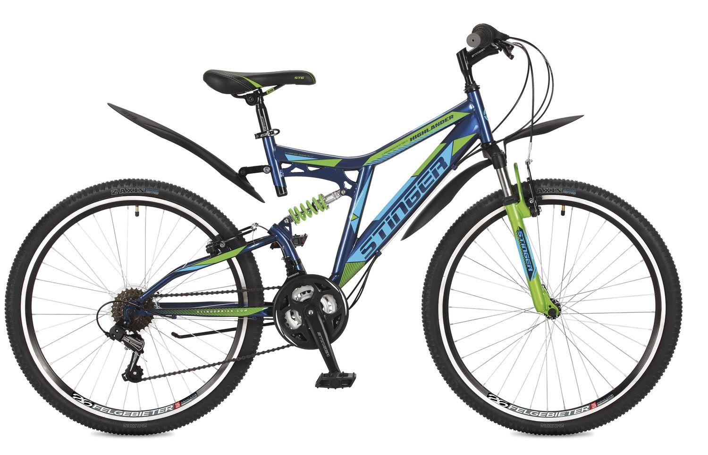 Велосипед горный Stinger Highlander 100V, цвет: синий, 26, рама 16