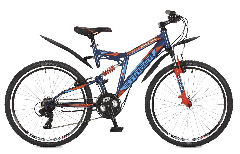 Велосипед горный Stinger Highlander 200V, цвет: синий, 26, рама 16