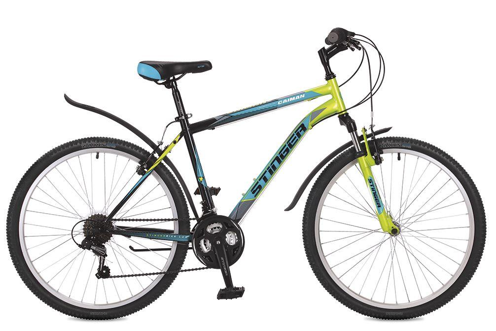 Велосипед горный Stinger Caiman, цвет: зеленый, 26, рама 14