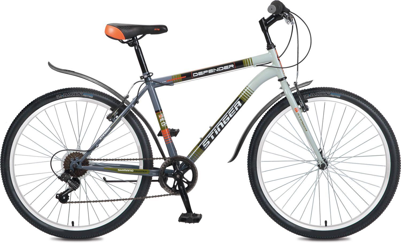 Велосипед горный Stinger Defender, цвет: серый, 26, рама 18. 26SHV.DEFEND.18GR6