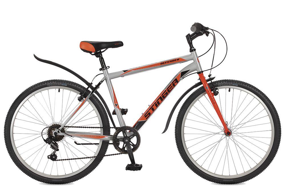 Велосипед горный Stinger Defender, цвет: серый, 26, рама 18