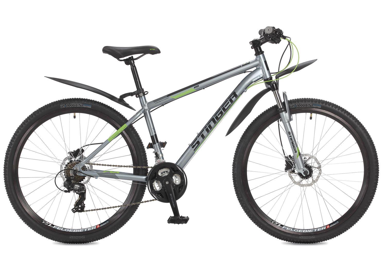 Велосипед горный Stinger Graphite HD, цвет: серый, 27.5, рама 1827AHD.GRAPHHD.18GR7Stinger Graphite HD - горный велосипед с диаметром колеса 27,5, отлично подойдет для любителей езды по городу и пересеченной местности. Рама сделана из алюминиевого сплава, а сама модель оборудована дисковыми гидравлическими тормозами, что обеспечит вам быстрое и плавное торможение. Переключатели известного бренда Shimano делают переключении точными и четкими. Если вы ищите надежную и легкую модель, то стоит обратить внимание на эту модель.