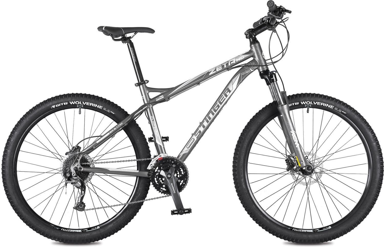 Велосипед горный Stinger Zeta HD, цвет: серый, 27.5, рама 18