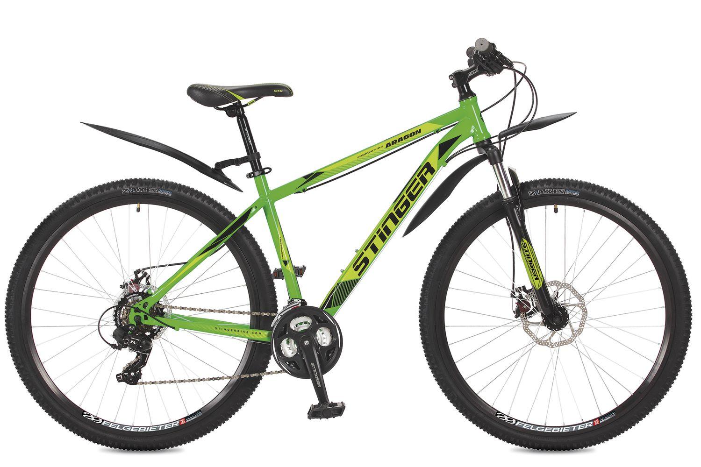 Велосипед горный Stinger Aragon, цвет: зеленый, 29, рама 16
