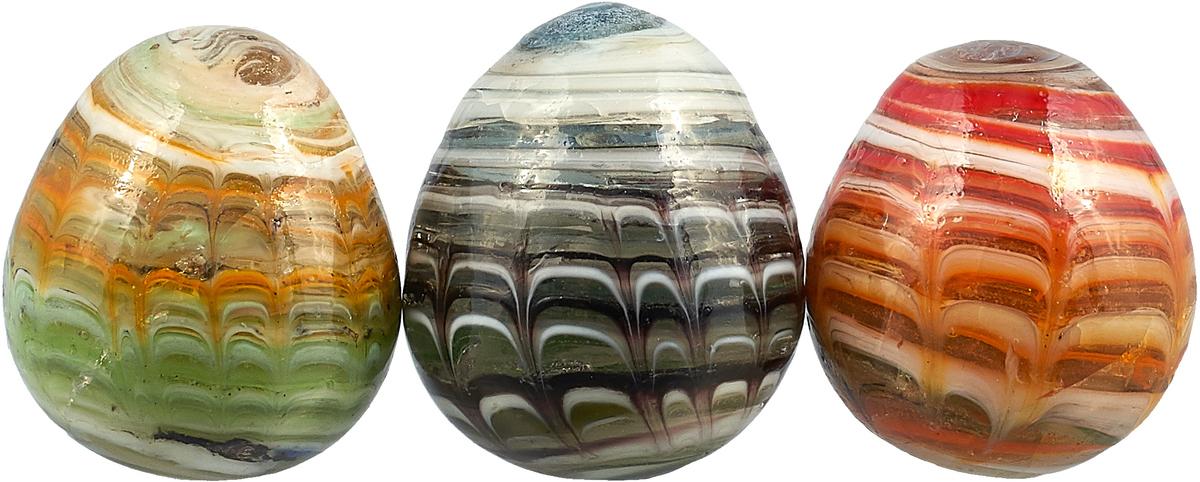 Яйцо декоративное №1, для аквариума, расписное, большое, цвет: оранжевый, зеленый, черный
