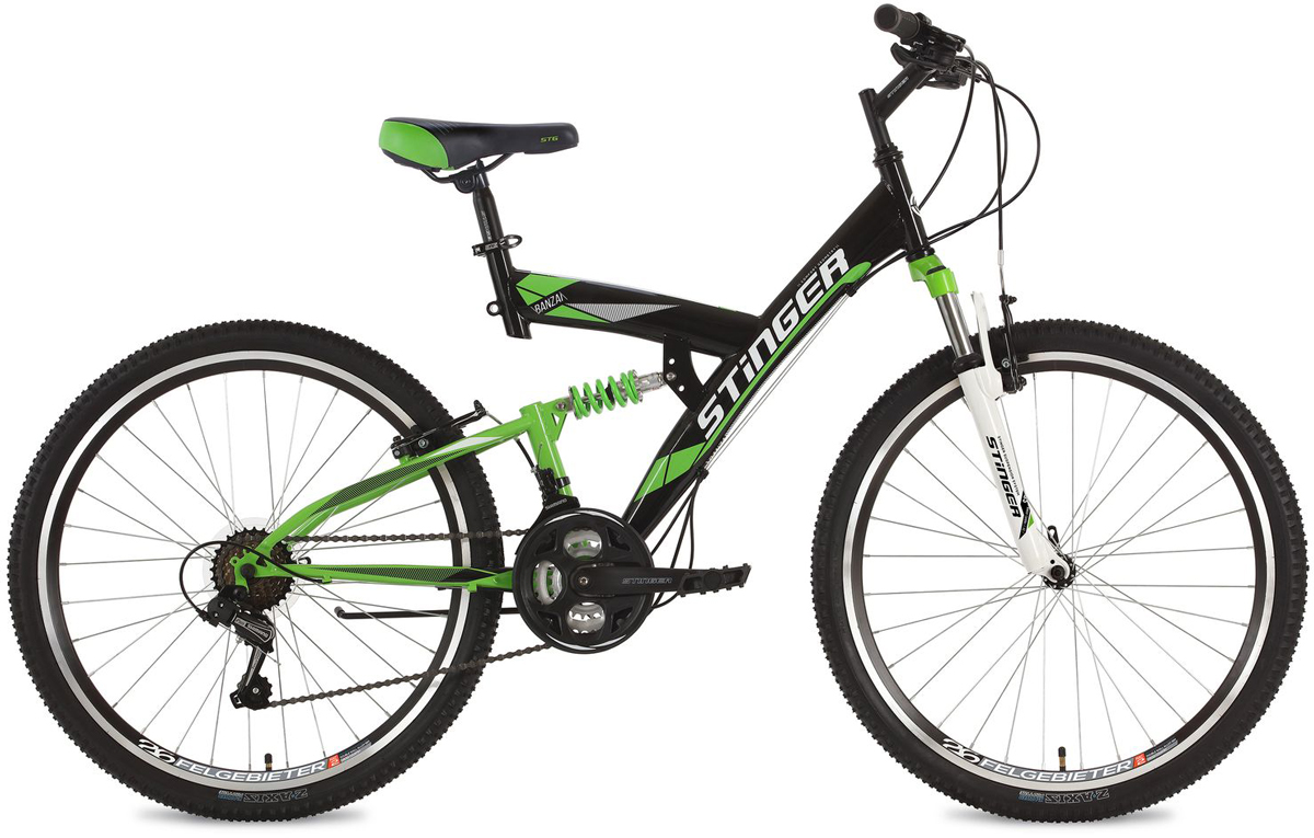 Велосипед горный Stinger Banzai, цвет: черный, 26, рама 16