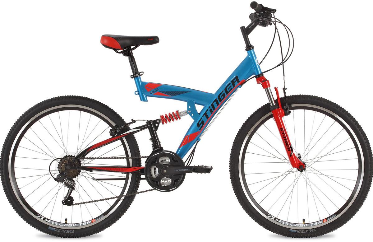 """Велосипед горный Stinger """"Banzai"""", цвет: синий, 26"""", рама 20"""""""