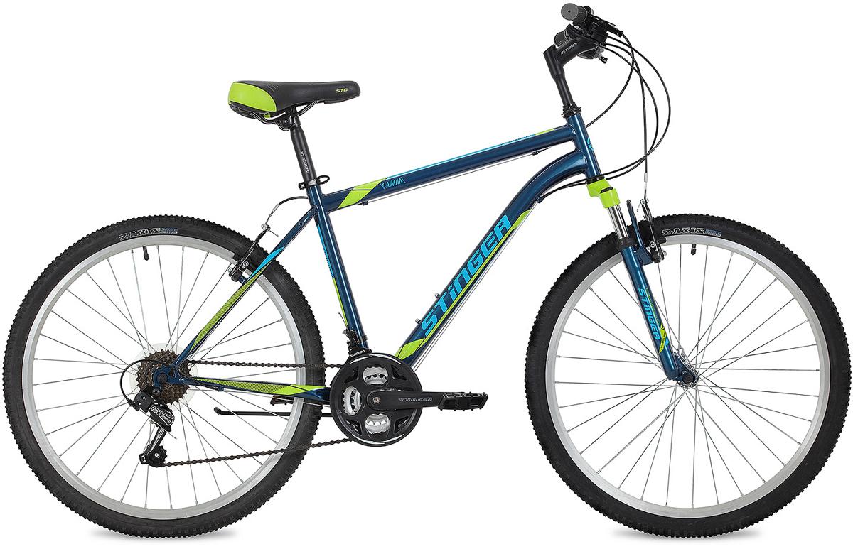 Велосипед горный Stinger Caiman, цвет: синий, 26, рама 16