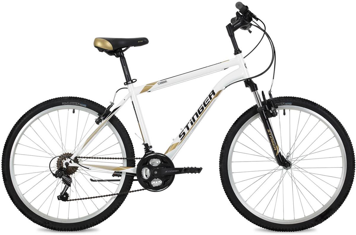 Велосипед горный Stinger Caiman, цвет: белый, 26, рама 18