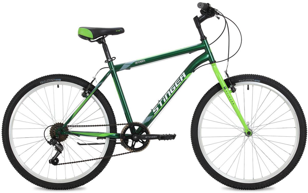 Велосипед горный Stinger Defender, цвет: зеленый, 26, рама 16