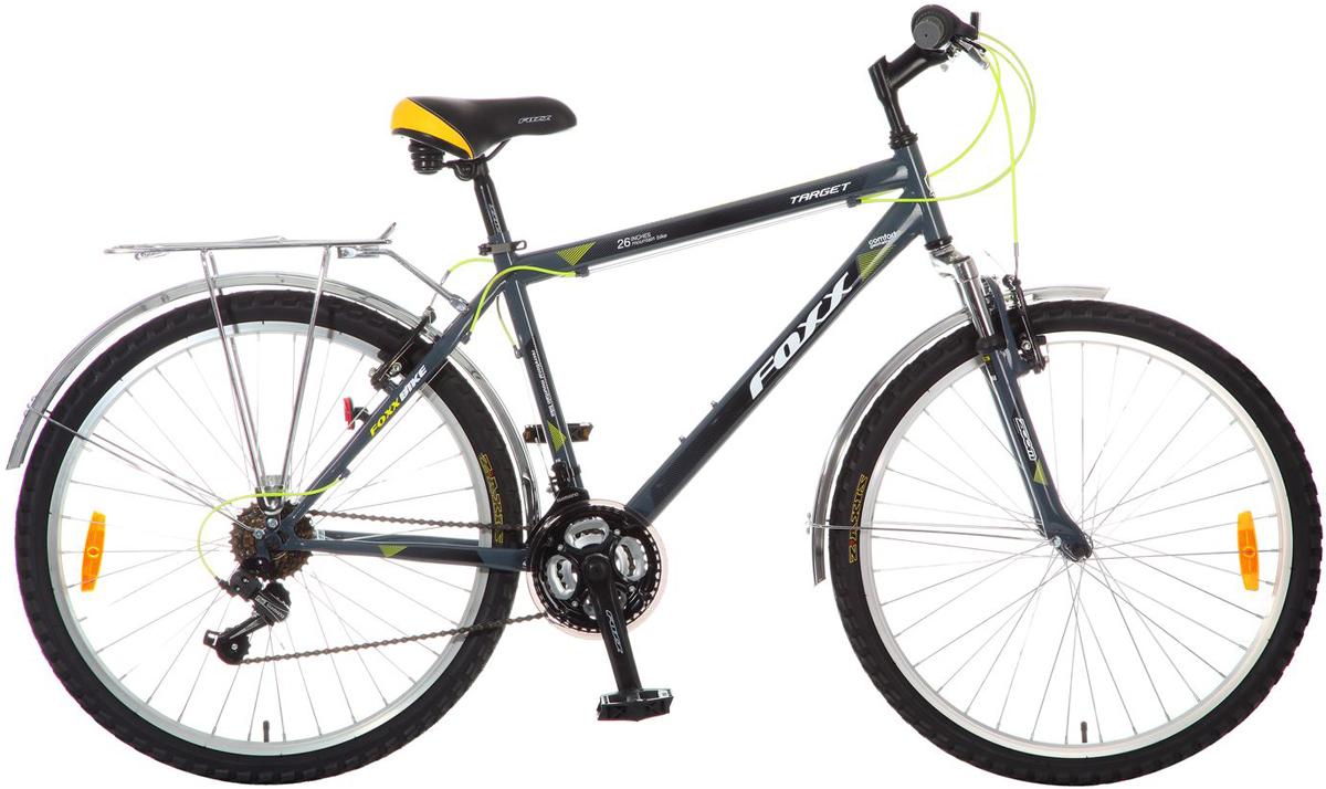 Велосипед горный FOXX Target, цвет: серый, 2626SHV.TARGET.18GR5.FPFOXX Target - представляем вам велосипед для тех кто любит путешествовать. Модель оборудована полноразмерными крыльями и багажником, чтобы вы могли взять с собой в дорогу больше вещей. Рама сделана из прочной Hi-tensile стали, что делает ее максимально прочной. А чтобы ваши поездки были более комфортными, на велосипед установили амортизационную вилку, которая прекрасно отработает все неровности на дороге. FOXX Target - идеальное сочетание цены и высокого качества велосипеда.