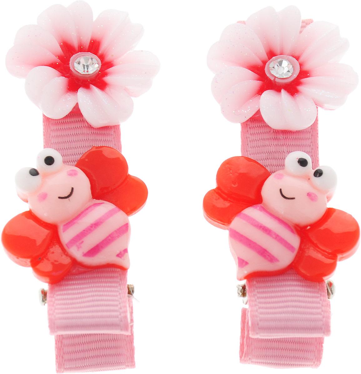 Baby's Joy Зажим для волос Пчелка 2 шт AL 966_светло-розовый, красный baby s joy резинка для волос цвет красный белый розовый 2 шт