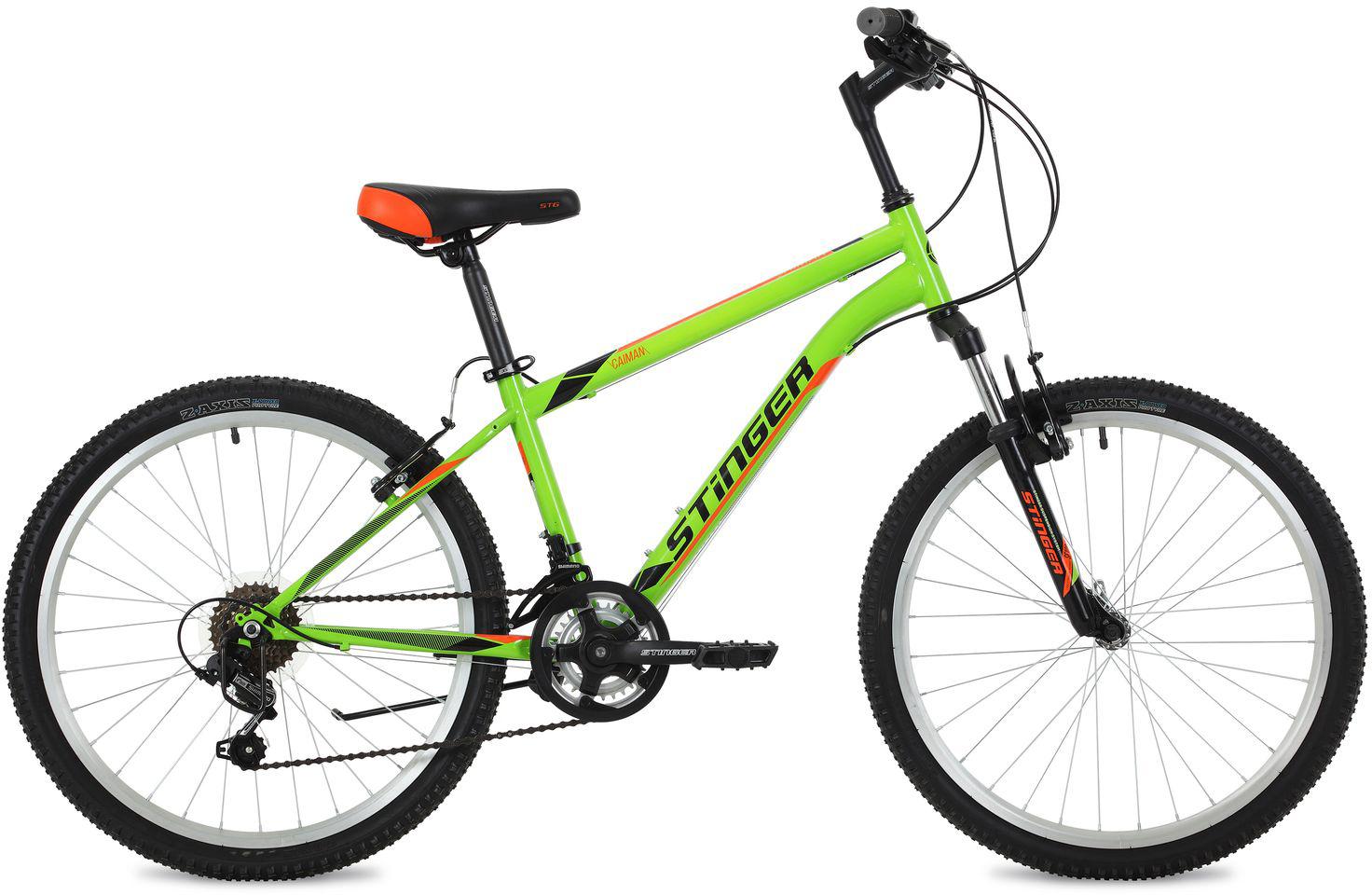 Велосипед горный Stinger Caiman, цвет: зеленый, 24, рама 14
