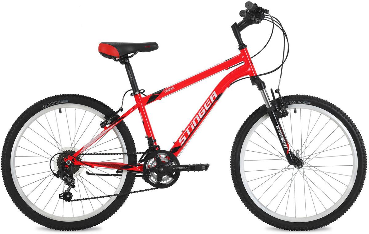 Велосипед горный Stinger Caiman, цвет: красный, 24, рама 14