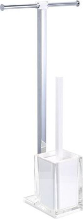 """Комбинированная напольная стойка с ершиком и двойным бумагодержателем Fixsen """"Rainbow"""" поможет организовать пространство в туалетной комнате. Стойка изготовлена из термопластика и нержавеющей стали.Размеры: 58,8 х 27,5 х 16 см."""