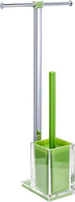 Стойка напольная Fixsen Rainbow: держатель для бумаги, ершик для унитаза, двойная, цвет: зеленый, 58,8 х 27,5 х 16 см стойка напольная fixsen wendy бумагодержатель и ерш 7032 60