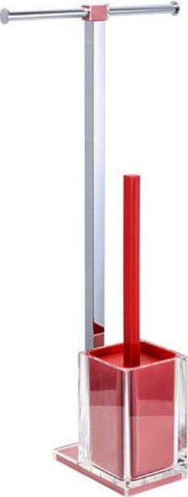 """Стойка напольная Fixsen """"Rainbow"""": держатель для бумаги, ершик для унитаза, двойная, цвет: красный, 58,8 х 27,5 х 16 см"""