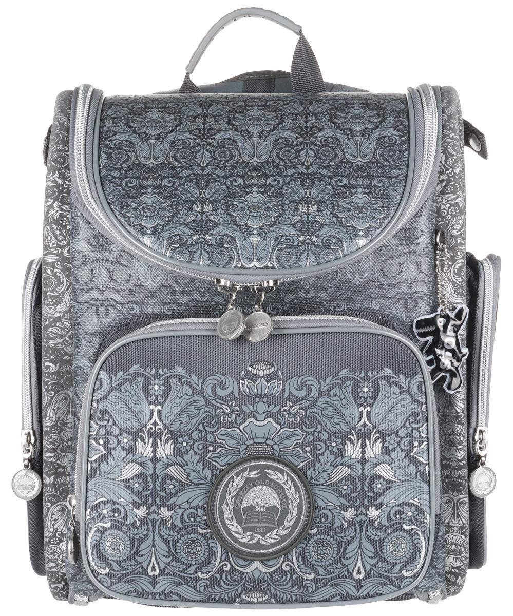 Grizzly Рюкзак школьный с мешком цвет серый рюкзак школьный scotch 40 30 14см серый с красным 7033784