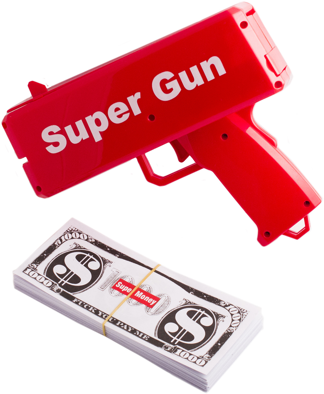 """Сорить деньгами можно не только вручную, но и с помощью современных технических средств: уникальный пистолет выстреливает купюры со скоростью, немыслимой даже для самых отчаянных транжир. Можно устроить настоящий денежный дождь на свадьбе или осыпать богатством именинника - подарок с приколом Эврика """"Деньгомет"""" наверняка произведёт незабываемое впечатление. Для розыгрышей, эффектных съёмок и других развлекательных целей также можно загрузить обойму имеющимися в продаже забавными купюрами. Материал: пластик. Оригинальная игрушка стреляющая сувенирными банкнотами. Элементы питания: 4 батарейки АА."""