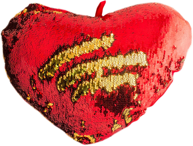 Подушка хамелеон Эврика Сердце, цвет: розовый, золотой98753Подушка-хамелеон Эврика Сердце подстроится под ваш интерьер, не надоест однообразием, предоставит простор для творчества. Материал съемной наволочки расшит специальными двусторонними пайетками, проведя рукой по которым, можно создать собственный фантазийный узор, выбрать однотонную расцветку или комбинировать цвета по вашему усмотрению. Наволочка застегивается на молнию, позволяет осуществлять бережную стирку или чистку.