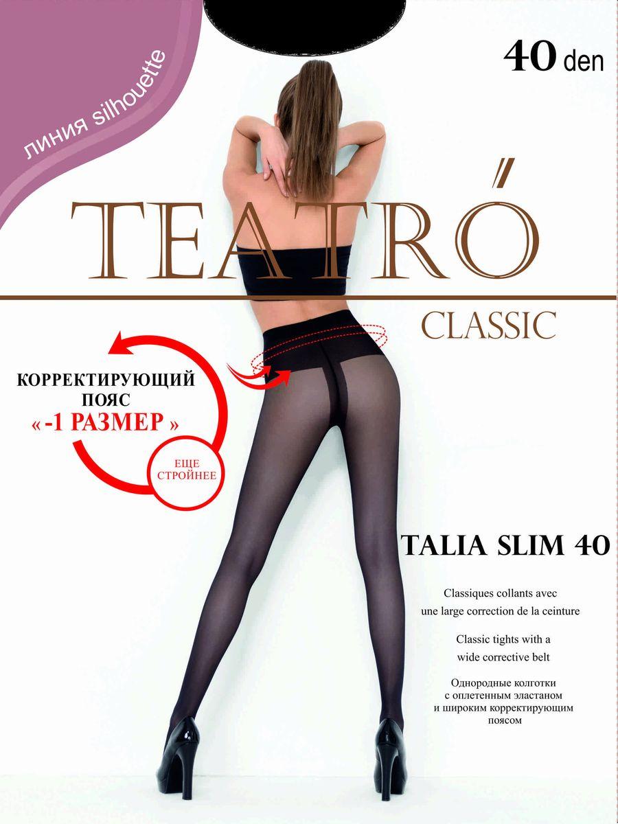 Колготки женские Teatro Talia Slim 40, цвет: Nero (черный). Размер 2Talia Slim 40однородные колготки с широким корректирующим поясом