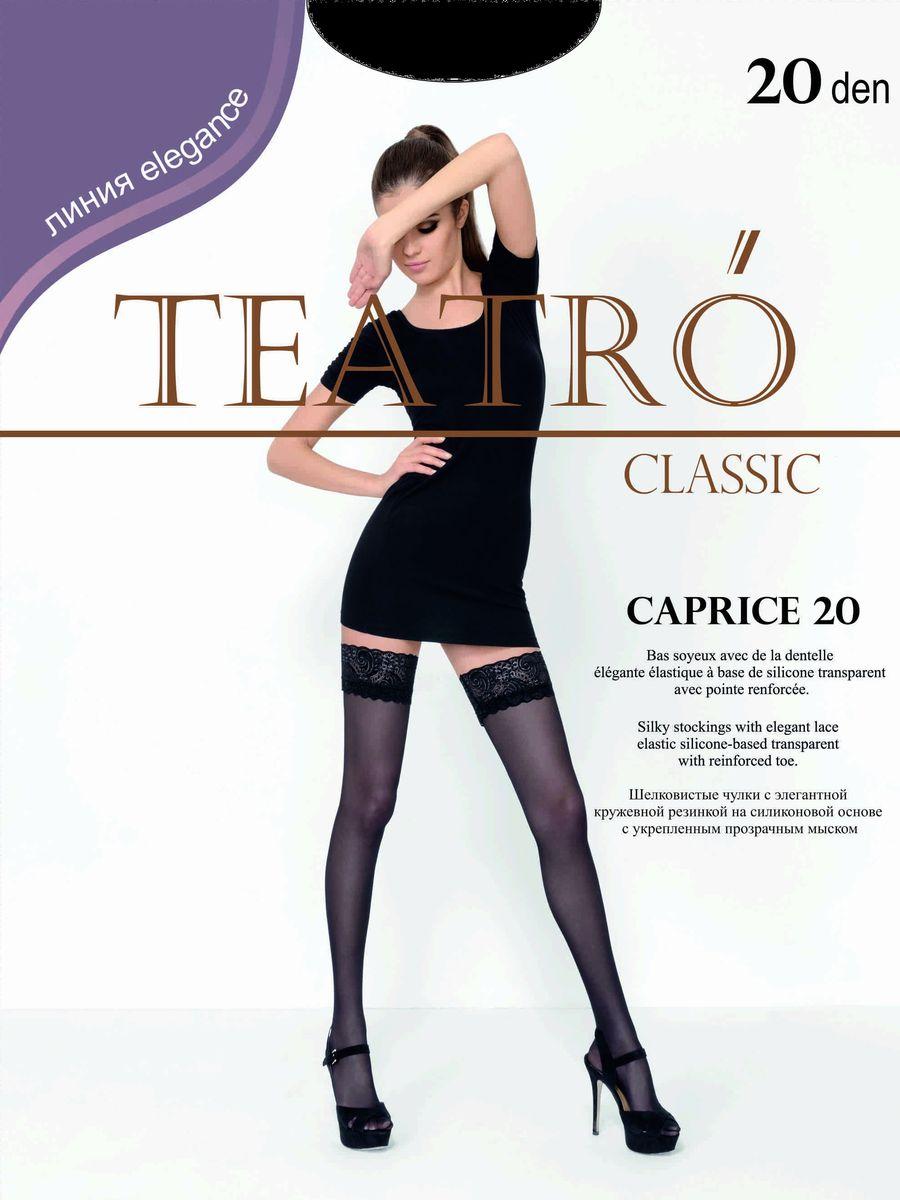 Чулки женские Teatro Caprice 20, цвет: Nero (черный). Размер 4 чулки сетка soft line с кружевной резинкой красные xxl