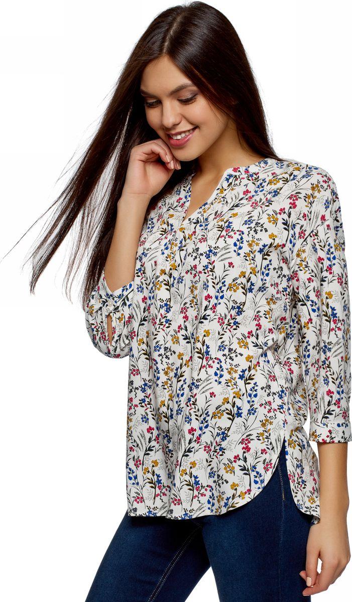 Купить Блузка женская oodji Ultra, цвет: кремовый, темно-зеленый. 11411188/26346/3069F. Размер 38 (44-170)