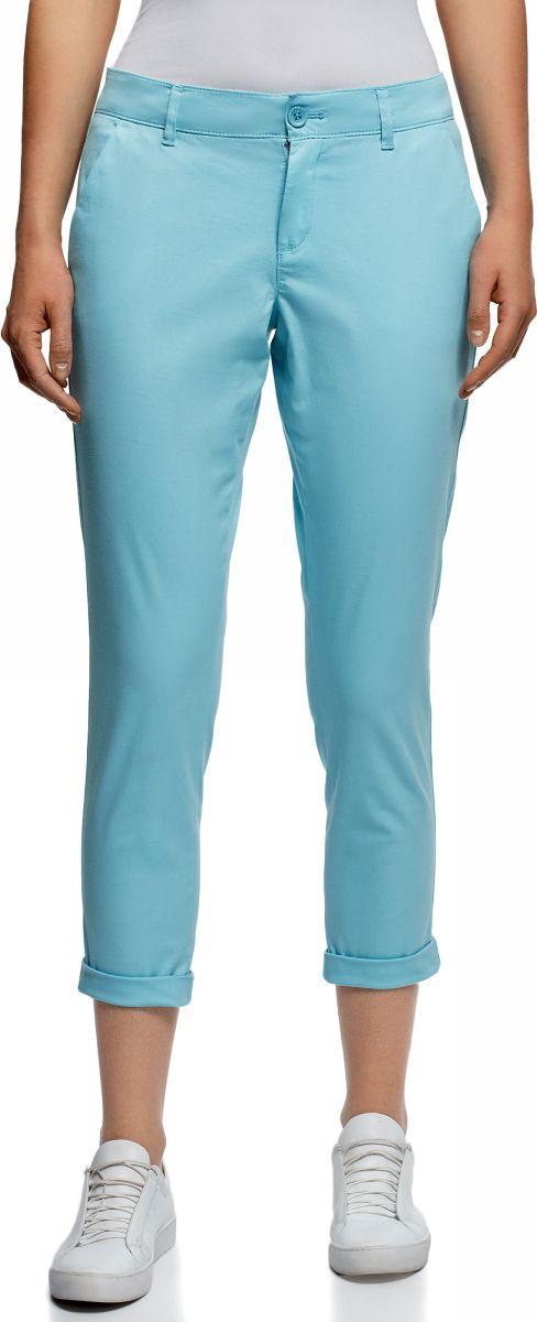 Купить Брюки женские oodji Ultra, цвет: бирюзовый. 11706207B/32887/7300N. Размер 38 (44-170)