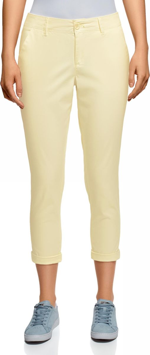 Брюки женские oodji Ultra, цвет: светло-желтый. 11706207B/32887/5000N. Размер 44 (50-170)