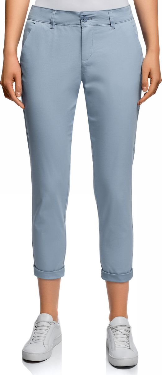 Брюки женские oodji Ultra, цвет: серо-синий. 11706207B/32887/7400N. Размер 44 (50-170)