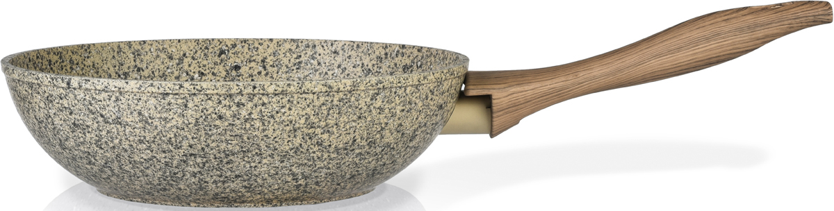 """Сковорода-вок Fissman """"Crema Nova"""" изготовлена из литого алюминия с многослойным антипригарным покрытием EcoStone, которое усилено вкраплением каменных частиц. Главное преимущество покрытия - это устойчивость к царапинам и износу. Также покрытие безопасно для здоровья человека и окружающей среды. Утолщенное дно сковороды рационально распределяет тепло, что позволяет продуктам готовиться быстро и равномерно. Приятная на ощупь ручка из бакелита не нагревается и не скользит в руках."""