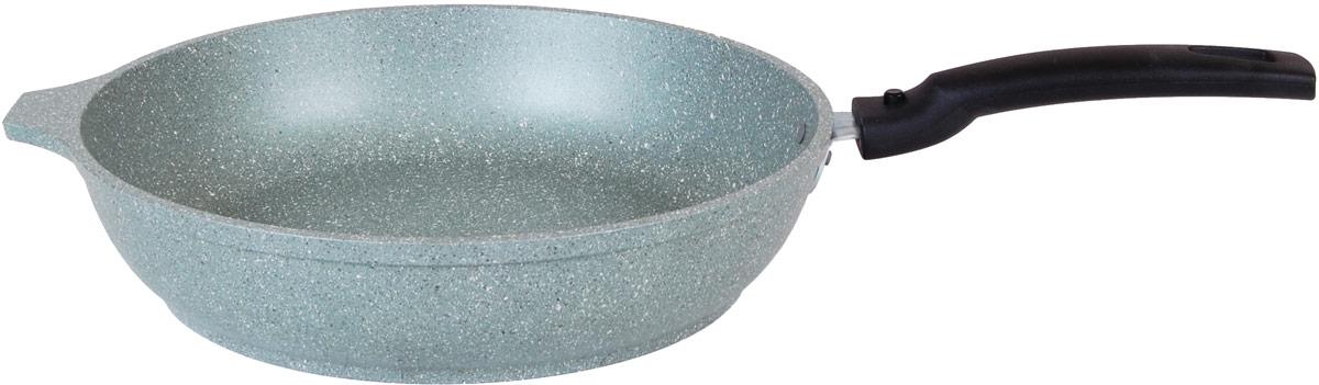Сковорода Kukmara изготовлена методом кокильного литья из специального пищевого алюминиевого сплава с 5-слойным антипригарным мраморным покрытием на водной основе. В состав покрытия входят частицы каменной породы, которые обеспечивают исключительную прочность и твердость покрытия. Антипригарное покрытие экологично и безопасно для организма, оно позволяет использовать минимальное количество масел и жиров, чтобы сохранить естественный вкус продуктов. Кроме того, пища не пригорает, а после использования поверхность легко и быстро моется. Посуда имеет специальное утолщенное дно, тепло равномерно распределяется и долго сохраняется по всей поверхности посуды. При приготовлении пищи дно и стенки не деформируются благодаря прочному корпусу, отлитому вручную. Съемная пластиковая ручка не нагревается в процессе эксплуатации. Посуда подходит для газовых, электрических, стеклокерамических плит. Можно мыть в посудомоечной машине.