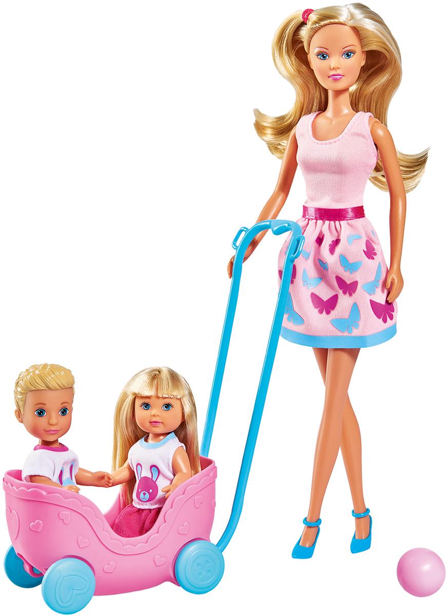 Simba набор кукол Штеффи Еви Тимми с питомцами Веселая прогулка simba мини кукла еви в летней одежде цвет розовый