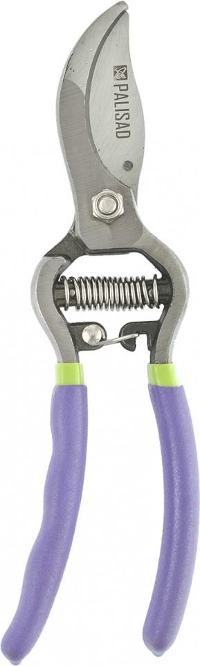 """Закаленное режущее лезвие секатора """"Palisad"""" обеспечивает чистый и аккуратный срез.  Закругленное опорное лезвие надежно удерживает ветку во время работы.  Цельнокованый корпус и обрезиненные рукоятки, а также усиленные лезвия делают инструмент надежным в использовании."""