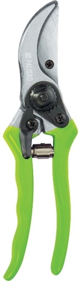 """Секатор """"Palisad"""" спрямым резом, обрезиненными рукоятками ибоковым фиксатором предназначен для выполнения работ по уходу за садом.  Рекомендуется для обрезки живых веток диаметром до 15 мм.   Режущее лезвие изготовлено из инструментальной стали У7, остро заточено иимеет оксидированное покрытие для защиты от коррозии."""