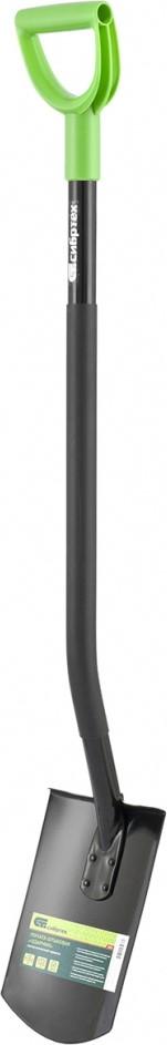 Холоднокатаная борсодержащая сталь, из которой выполнена рабочая часть, обеспечивает высокую степень упругости.  Благодаря закалке инструмент надежен при проведении тяжелых видов работ.  Двойное соединение штыка и черенка (сварка+стальная клепка) увеличивает срок эксплуатации.  Закругленная рабочая кромка эффективна при выкапывании ям и траншей.  Эргономичная форма стального черенка, ПВХ-накладка и V-образная рукоятка создают условия для комфортной работы.  Покрытие порошковой эмалью защищает металлическую часть инструмента от коррозии и обеспечивает высокую стойкость к истиранию, ударопрочность, гибкость и сопротивляемость царапинам.