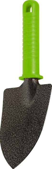 Совок узкий с пластиковой рукояткой.  Ширина рабочей части 90 мм, длина 130 мм, общая длина 260 мм.   Предназначен для высадки и пересадки рассады или цветов на небольших грядках или клумбах.  Рабочая часть выполнена из инструментальной стали У8 и окрашена молотковой эмалью для предохранения от коррозии.   По окончании работы необходимо очистить рабочую часть инструмента от остатков грунта.