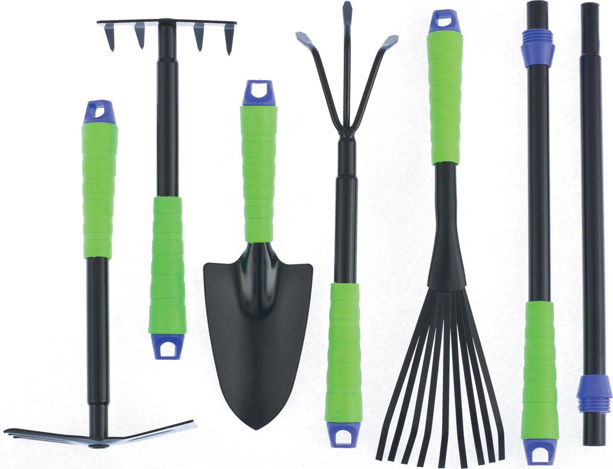Набор садового инструмента с двумя съемными удлиняющими ручками, предназначен для работ по уходу за растениями, цветами, небольшим кустарником.  Инструмент, входящий в комплект, изготовлен из углеродистой стали, имеет защитное покрытие, предохраняющее от коррозии.  1.  Грабли 5-зубые, ширина рабочей части 120 мм, общая длина 300 мм.  Используются для сбора срезанных побегов и рыхления почвы на небольших грядках и клумбах.  2.  Рыхлитель 3-зубый, ширина рабочей части 90 мм, общая длина 380 мм.  Используется для рыхления, аэрации почвы на небольших грядках и клумбах.  3.  Грабли веерные 9-зубые, ширина рабочей части 130 мм, общая длина 410 мм.  Используется для сбора срезанных побегов и сорняков на небольших грядках и клумбах.  4.  Мотыжка 3-зубая комбинированная, ширина рабочей части 60 мм, общая длина 300 мм.  Используется для рыхления, аэрации почвы и прополки на небольших грядках и клумбах.  5.  Совок широкий, ширина рабочей части 90 мм, длина 140 мм, общая длина 290 мм.  Используется для высадки и пересадки рассады, растений или цветов на небольших грядках или клумбах.  6.  Удлиняющая ручка, 400 мм, резьбовое соединение.  Предназначена для удлинения любого инструмента из набора на 400 мм.  7.  Промежуточная удлиняющая штанга, 380 мм, резьбовое соединение.  Предназначена для удлинения любого инструмента из набора на 780 мм.