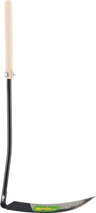 Коса-серпан садовая, из стального полотна и ручки63568Коса-серпан состоит из стального полотна и ручки.Нож у нее короткий.Внешне он похож на серп.Этот инструмент удобен для скашивания переросшего травостоя с крупным и жестким стеблем, а также для скашивания мелкого кустарника или молодых побегов деревьев.