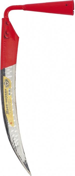 Коса-серпан состоит из стального полотна и ручки.  Нож у нее короткий.  Внешне он похож на серп.  Этот инструмент удобен для скашивания переросшего травостоя с крупным и жестким стеблем, а также для скашивания мелкого кустарника или молодых побегов деревьев.