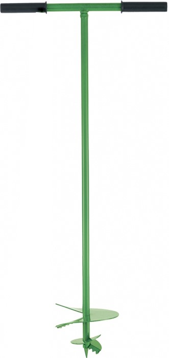 Бур садовый Сибртех, шнековый D 300 мм64505Используется в работах, связанных с посадкой деревьев и кустарников,обустройством территории, разработкой скважин и пр.На одном конце бура имеется Т-образная рукоятка, другой конец выполнен в виде шнека для лучшего проникновения в грунт.Изготовлен из конструкционной углеродистой стали и окрашен для защиты от воздействия коррозии.Для удобства использования на Т-образной рукоятке места хвата защищены пластиковыми насадками.Резьбовое соединение тела и рукоятки позволяет использовать инструмент с удлинителем артикула 64508